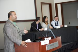 Professor Manish Tripathi moderates a panel on eSports with industry panelists representing content development (Hi-Rez Studios–video games), broadcast (Turner), and sponsorship (Coca-Cola Company).