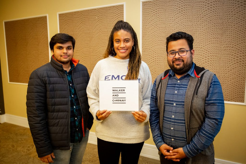 Team Walker and Company (from left, Pallav Upadhyay, Kristen Little and Sumit Kumar. Not pictured are Katie Merchant and Scott Jospin). Photo taken December 2019.