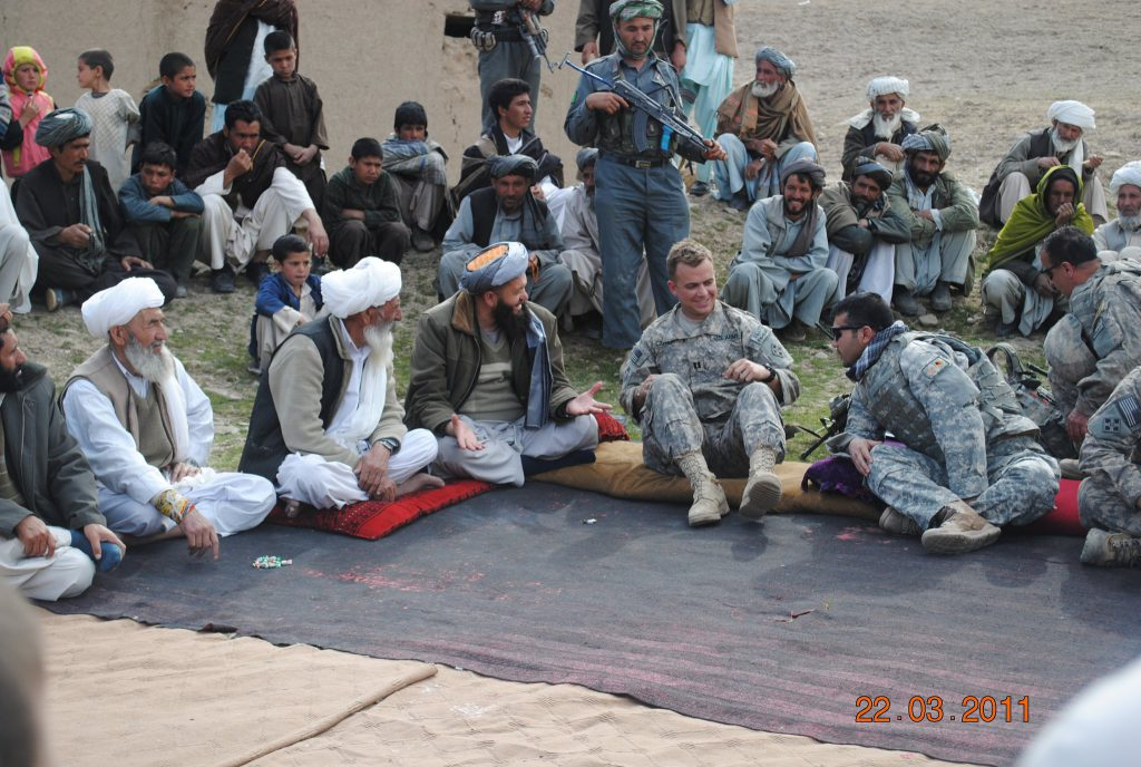 A shura is a meeting of the tribes. Here, Garrett Cathcart is in a remote area to discuss Taliban surrender terms.