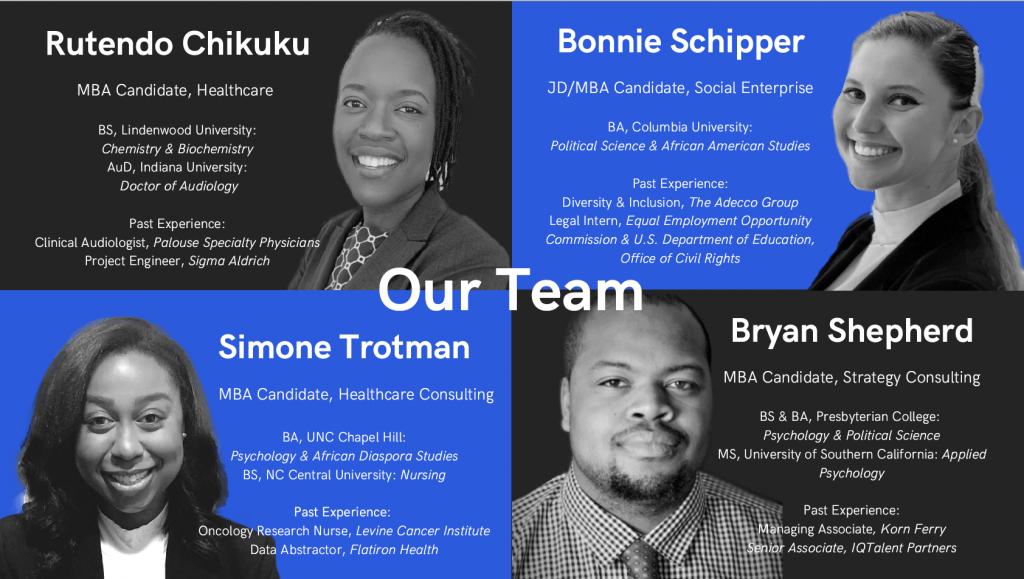 "Team ""I Have a Dream."" Rutendo Chikuku 22MBA, Bonnie Schipper 23MBA 23JD, Bryan Shepherd 22MBA and Simone Trotman 22MBA."