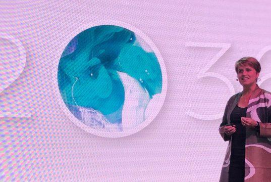 Interim Dean Karen Sedatole speaking at the 2O36 campaign launch
